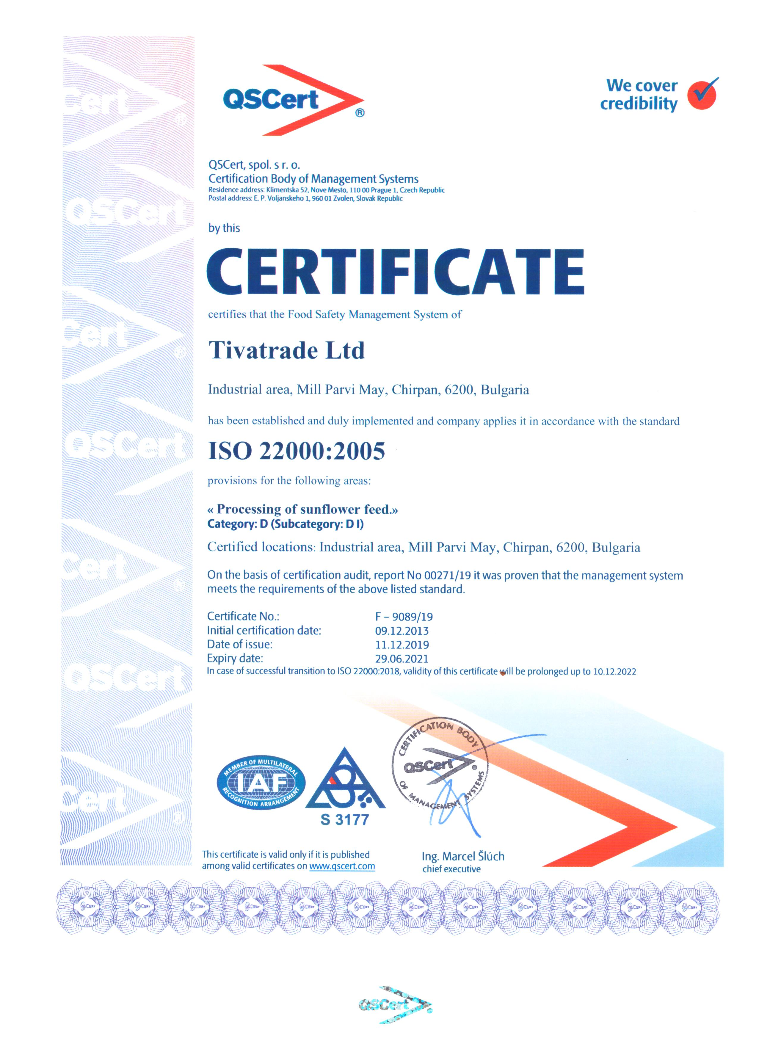 Certificate ISO 22000: 2015